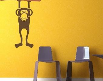 Monkey Wall Decal,  Animal Nursery Wall Decor, Modern Nursery Decor, Children's Wall Decor, Tree Wall Decal, Dorm Decor, Primate Wall Decal
