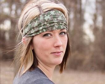 Head Scarf Head Wrap, Green Camouflage, Jersey Knit Head Wrap, Dreadlock Headwrap, Camo Soft Headbands (#1015) S M L X