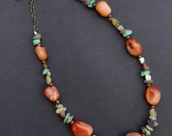 Old Rustic Carnelian Necklace Antique Stones with Earthy Raw Green and Amber Stone Chips Rustic Gemstone Jewelry