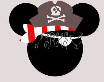 Mouse Ears Pirate SVG with Pirate Hat and Eye Patch