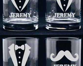 Personalized Groomsmen Glasses, Groomsmen Gift, Etched Wedding Glasses, Wedding Party Gift, Etched Whisky Glasses