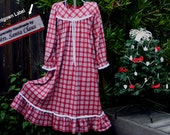 "Size 10-Girls // Christmas Nightgown---100% Cotton-Knit, ""Handmade by Mrs. Santa Claus"" Label // READY to Ship // see sizes 4/5, 6, 8 also"