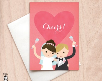 Cheers - Bride and Groom - Pink Champagne Toast - Wedding Congratulations Greeting Card