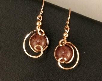 Dark Red Rose Gold Wire Drop Stone Earrings, Unique Muscovite Rose Gold Wire Dangle Earrings