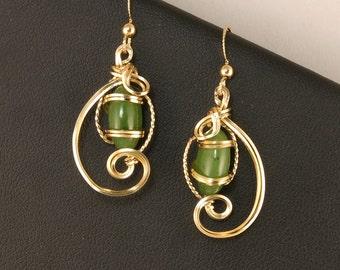 Jade Gold Earrings, Nephrite Green Jade Gemstone Wire Sculpture Earrings, Jade Wire Art Wire Wrapped Earrings