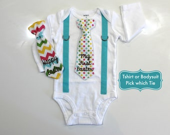 Baby Boy First Easter Outfit. Tie Suspender Outfit. Happy Easter Shirt. First Easter Shirt for Boys. Aqua Chevron Tie. Easter Tie.