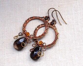 Smokey Quartz Woven Copper Dangle Earrings