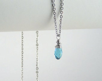December Birthstone Necklace Sterling Silver Option Personalization Available
