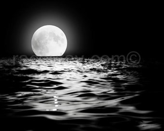 Full Moon Print - Black and White Photography - Moon Art - Lunar Decor - Pagan Wall Art