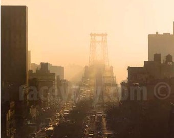Williamsburg Bridge, Brown, Peach, Sepia, New York Photography, NYC Art, Urban City Print, Office Decor