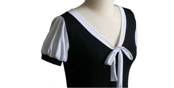 Puff sleeve blouse, Polka Dot Top, V-Neck Top, Black Top, Short Sleeve Women Shirt, plus size clothing, Custom womens clothing, Plus size