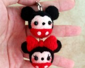 Mickey and Minnie Needlefelt Charm, Mickey Mouse Charm, Minnie Mouse Charm, Kawaii Disney Charm, Cute Disney Charm, Needlefelt Charms