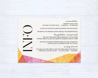 Printed Information Card – Celebration