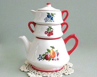 Stacking Tea Set Tea Maker Ceramic Teapot Decor Ceramic Tea Pot Decor Porcelain Teapot Set Teapot Sugar Creamer Kitchen Decor Cottage Chic