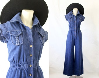 wide leg denim jumpsuit / 1970's