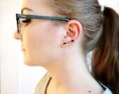 Sterling Silver Ear Climber, Line Earrings, Minimal Silver Earrings, Hematite Earrings