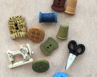 Sewing Themed Buttons Packaged Novelty Button Assortment by Buttons Galore Includes Thimbles, Scissors, Buttons, Sewing Machine, Thread