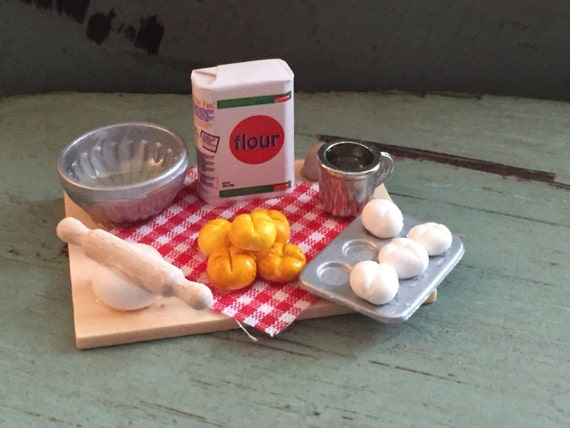 Miniature Baking Bread, Prep Board by Timeless Minis,  Baking Set Includes, Flour, Bread, Measuring Cup, Eggs