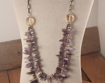 Dramatic Amethyst, Quartz and Fresh Water Pearl Necklace