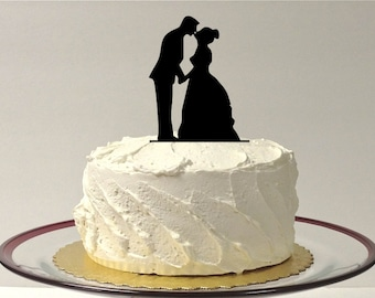 MADE In USA, Romantic Silhouette Wedding Cake Topper, Princess Style Dress Ball Gown Bride and Groom Wedding Cake Topper Bride Vintage Style