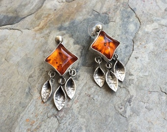 Amber Earrings in Fine Silver for Pierced Ears. Handmade Jewelry for Charity.