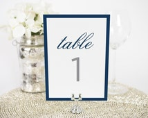 "Sophisticated Modern Wedding Table Numbers - 5x7"", Any Color - Decorative, Party Decoration, Script"