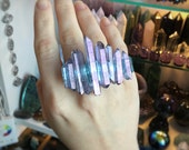 Tanzine Aura crystal ring, Aqua Aura crystals, statement ring, double finger