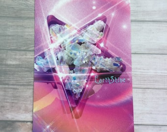 Star Crystal art print 4x6, Angel Aura, Pink wiccan star