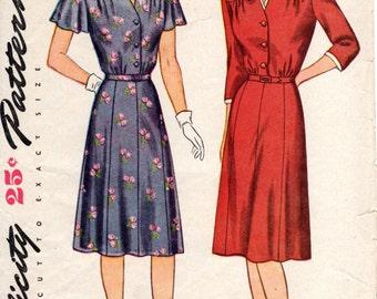 1940s Womens Shirtdress Pattern - Vintage Simplicity 1379 - Bust 34