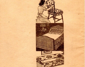 1940s Household Slipcover & Cover Patterns - Vintage Mail Order Pattern 932 Sofa Cover Chair Cover Lampshade Tablecover