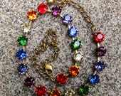 Rainbow Swarovski Crystal Necklace, Rainbow Tennis Necklace, Rainbow Crystal Cup Chain Necklace, Swarovski Crystal Statement NecklaceROYGBIV