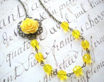 Yellow Necklace Yellow Wedding Jewelry Flower Necklace Bridesmaid Gift Summer Wedding Yellow Bridesmaid Necklace Beach Wedding Rose Jewelry