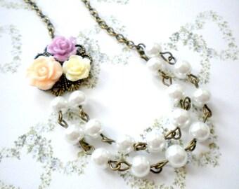 Flower Girl Necklace Pastel Children Necklace Flower Girl Gift Junior Bridesmaid Wedding Jewelry Floral Necklace Baby Girl Pearl Necklace