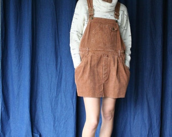 Corduroy Overalls Dress / Coveralls Mini Dress / Copper Brown / Nineties Grunge Era / Easy Dress / Autumn and Winter Dress
