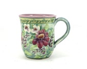 Pottery Mug - Handpainted Floral Print - One of a Kind Tea Cup or Coffee Mug - Purple Inside and Flowers