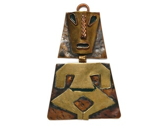 Mexican WARRIOR Pendant Necklace - Tribal Mayan Face Totem - Vintage 70s Mexican AZTEC Statement Jewelry - Brass Copper - Hecho En Mexico
