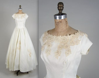 1950s sequined and lace dress • vintage 50s dress • long wedding dress