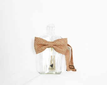 Autumn - Peach/Orange Vintage Japanese Linen Men's Pre-Tied Bow Tie or Self-Tied Bow Tie