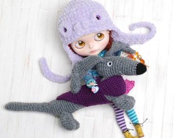 Dachshund Dog Sweater Amigurumi Crochet Toy Animal Baby Girl Boy Soft Customized Toys Handmade Gift Dog Violet Gray