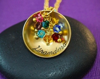 Personalized Grandma Gift - Mommy Jewelry - Birthday Gift - Birthstone Necklace - Grandmother - Birthday Gift Necklace - Gold