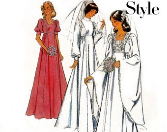 70s Boho Wedding Dress Pattern High Neck Bell Sleeves Renaissance Medieval Goth Bridal Style 1204 Sewing Pattern Size 10 Bust 32 1/2 Inches