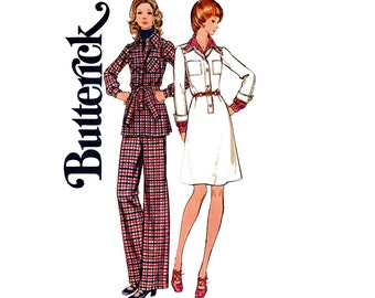 Butterick 6887 Womens Shirtdress Safari Shirt & Pants 1970s Vintage Sewing Pattern Size 16 Bust 38 inches