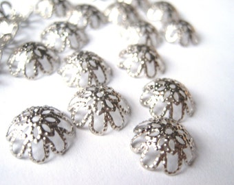 Large Bead Caps,Silvertone 10mm Filigree Bead Caps, Flower Beadcaps, Metal Findings, Jewelry Parts, Silver Tone 12mm Filigree, 50 pcs