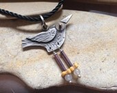 BIRD necklace, Let's Fly necklace, sterling silver, copper, brass, moonstone, watch parts, 14kt gold