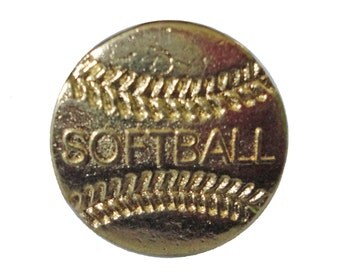 SOFTBALL lapel cloisonne vintage pin pinback trophy high school sports