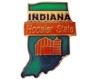 INDIANA Hoosier STATE vintage enamel pin lapel cloisonne