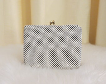 Vintage 50s 60s Park Lane Glomesh Mesh White Mesh Wallet Coin Purse Clutch