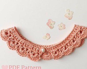 Peter Pan Collar Crochet Pattern, Lace Collar Necklace, Peter Pan Collar Dress, Crochet Pattern for Little Girls, Baby Crochet Pattern