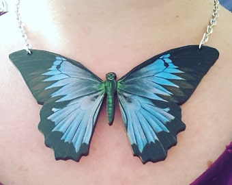 Huge, JUMBO, large,butterfly, wooden, wood, feature necklace,teal, blue, black,necklace,short necklace, by NewellsJewels on etsy