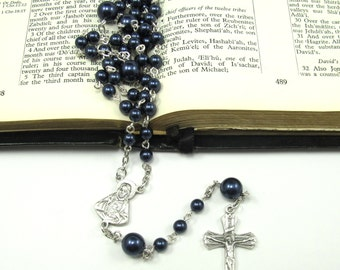 Catholic Rosary -Night Blue Pearls in Silver